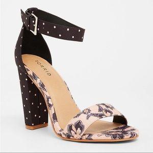Torrid Floral and Polka Dot Ankle Strap Heels